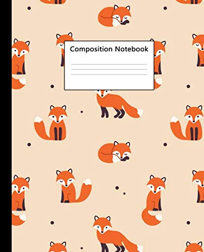 Composition Notebook: Nifty Cartoon Fox Wide Ruled Paper