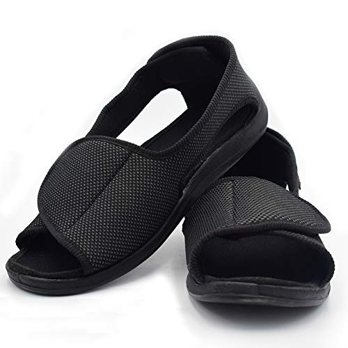 Mei MACLEOD Open Toe Slipper Sandals Swollen Feet Arthritis Edema Non Slip Shoes for Women(10(Women), Black) (Extra Extra Wide Shoes For Swollen Feet)