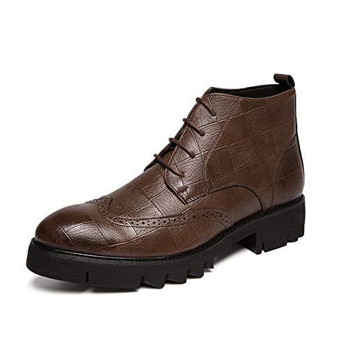 Marron 43 EU Le Cuir Bottines à la Mode pour Hommes Décontracté personnalité à voiturereaux Texture Style Brogue Chaussures Semi-Formelles de Style Haut Chaussures