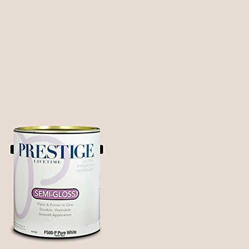 Prestige Paints P500-P-SW6049 Interior Paint and Primer in One, 1-Gallon, Semi-Gloss, Comparable Match of Sherwin Williams Gorgeous White, 1 Gallon, SW49-Gorgeous