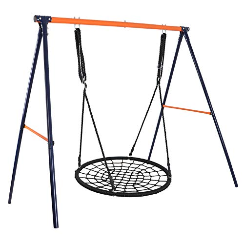 Super Deal 40' Web Tree Swing Set - Extra Large Platform - 360°Rotate°- 71'' Adjustable Detachable Nylon Rope - Attaches to Trees or Swing Sets - for Multiple Kids or Adult (Combo Set 48'')