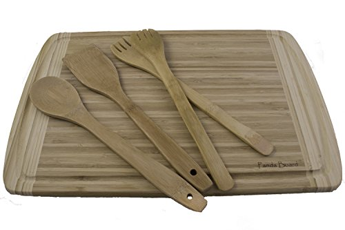 - Organic Bamboo Cutting Board with Non Slip Feet | Extra Large 18x12 Wood Chopping Block with Grooves | Kitchen Utensil | Spatula