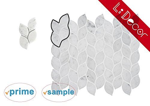 Sample Italian Bianco Carrara White Marble Leaf Mosaic Tile Wall Floor Decorative Bathroom Kitchen Backsplash Tiles, (Decorative Mosaic Tiles)