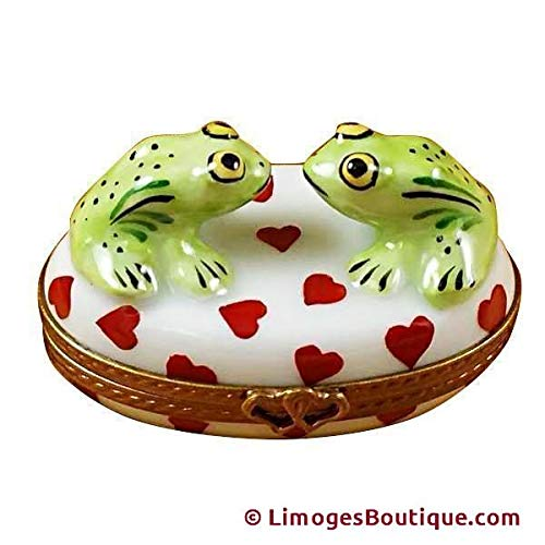 TWO LOVING FROGS ON OVAL BOX - LIMOGES PORCELAIN FIGURINE BOXES AUTHENTIC IMPORTS ()