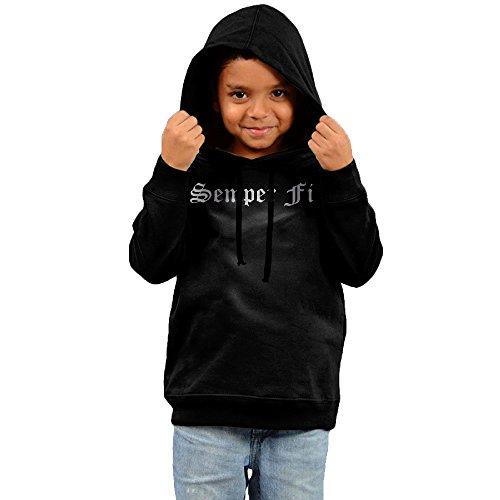 - Little Boys Girls Semper Fi Silhouette Car Platinum Style Hoodie Black