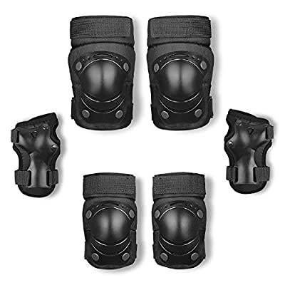 No-branded Protective Gear Sets Knee Pad Elbow Pads Guards Protective Gear Set for Rollerblade Roller Skates Cycling Outdoor Sports ZRZZUS (Color : Black, Size : M): Home & Kitchen