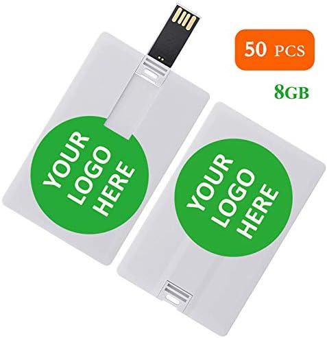 カスタム個人会社ロゴ/写真/テキストギフト 4GB/8GB クレジットカードスタイル USBフラッシュドライブ パーソナライズされたPendrive メモリースティック 84mm*53mm*2mm ホワイト