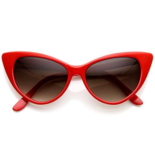 MLC EYEWEAR Designer Inspired Super Cat Eye Sunglasses Cherry Red