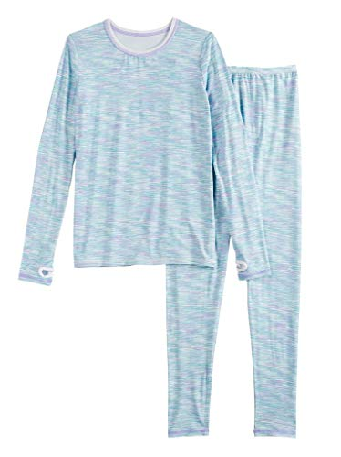 Girls Winter Base-Layer Thermal Underwear top and Bottom Set with Thumbhole, Blue Space Dye S (6-6x)