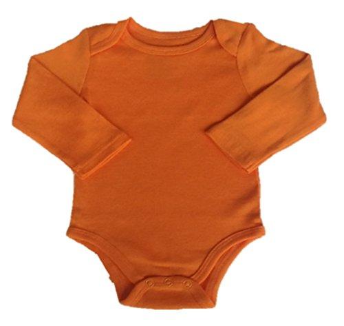 Orange Buzz Babyware Unisex Vivid Color, Long Sleeve Onesie (0-6m)