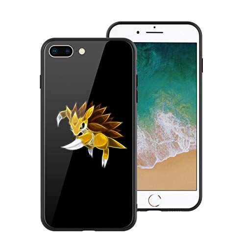 [For iPhone7 Plus & iPhone8 Plus] Animation Comic Game Cute Monsters Design Tempered Glass Phone Case, Soft Silicone Bumper + Anti-Scratch Tempered Glass Back, ACG-Poke-Monsters Design 447 Phone Cover