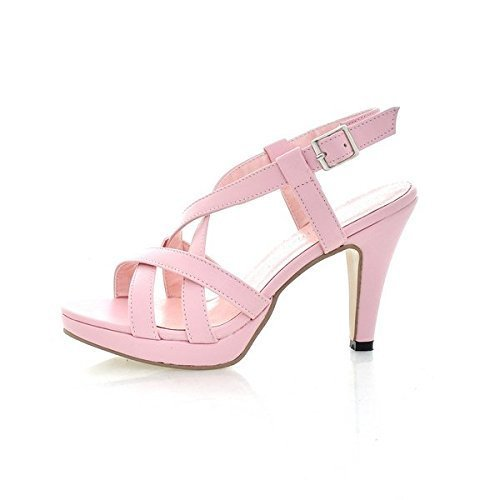De Heel Chaussons Chaussures Bretelles Femmes pink Sandales High Cheville Printemps Ete Gladiator Minetom Sandales wgTq4nX