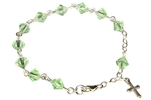 Child Rosary Bracelet made with Peridot Green Swarovski Crystal Elements - August (Communion & More)