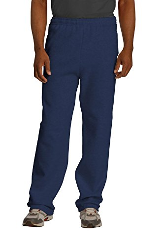 - Jerzees Adult NuBlend Open-Bottom Sweatpants with Pockets, Navy, Large