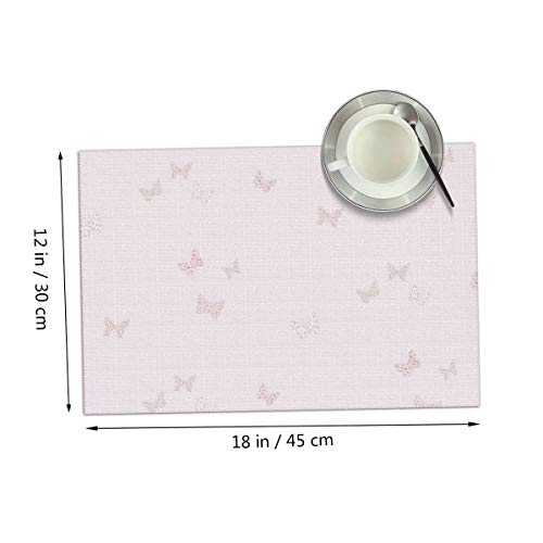 Carmen Belinda Pink Butterfly Girl Placemats Set of 4 for Dining Table Washable Place Mats for Kitchen/Dinning Table, Home Table Decor Non-Slip Heat Resistant, 12x18 Inches ()