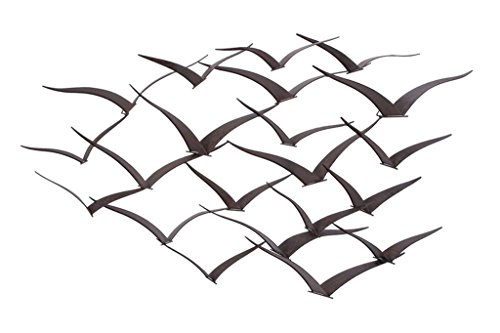Metal Modern Sculpture - Deco 79 Brown Flying Birds Modern Metal Wall Art Décor, 47