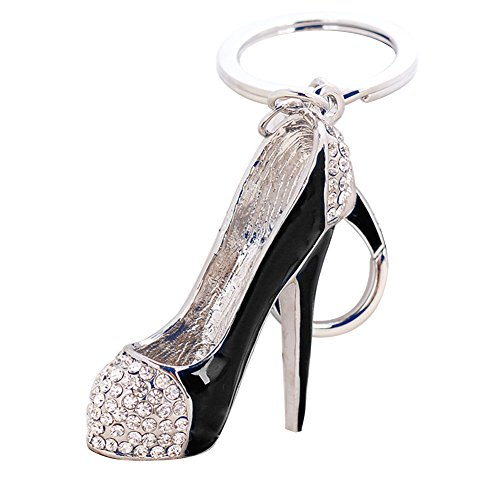 Quietcloud Fashion Lady High Heel Shoe Pendant Shiny Rhinestone Alloy Bag Car Keychain (1#-Black) (Pendant Purse)