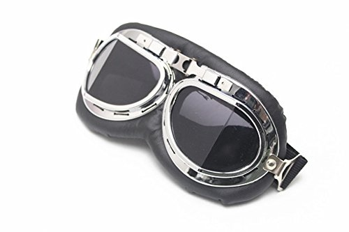 E-Bro Vintage Motorcycle Goggles, Anti-UV Adjustable Motorcycle Glasses Motocross Pilot Scooter Harley Goggles - Moto Glasses