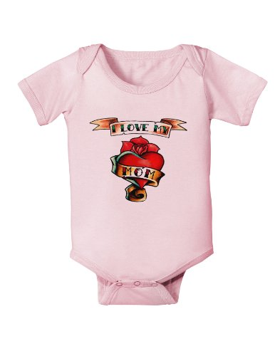 Tattoo Heart I Love My Mom Infant One Piece Bodysuit - Light Pink - 12 Months