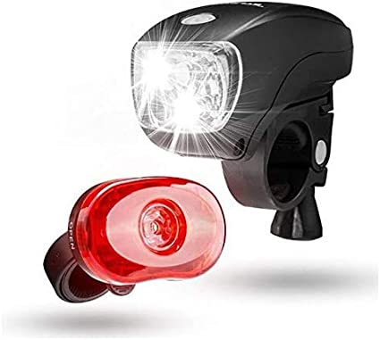 Super Bright Head /& Tail Light Water Resistant Front and Back Bicycle Light Set