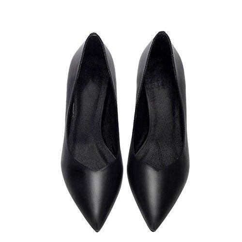 Mode Hauts Mariage Moyen Cuir EU 36 Talons Discothèque UK en Talon Chaussures De Cour Noir À 7cm 4 Black Femme Travail Soirée Sexy Chaussures qzEttW