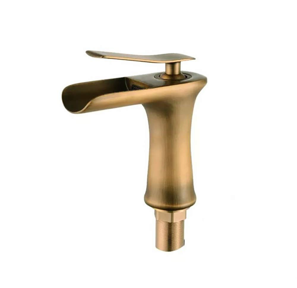 Brass Low YYF-FAUCET Basin Tap Retro Cold hot Waterfall Faucet All Bronze Desktop Sink Faucet, Bathroom Kitchen Ceramic Spool (color   Brass, Size   High)