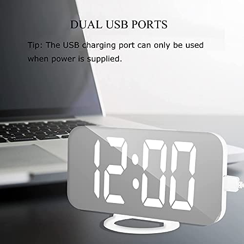 ICECUUL Digital Clock Large Display,Alarm Clock with Dual USB|Snooze Mode|Dimming Mode|Auto Adjust Brightness|LED Mirror Surface|Modern Wall Clock for Bedroom Home Office Living Room (White)