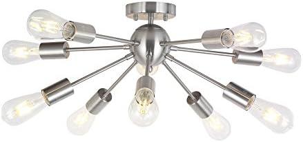 BONLICHT 10-Light Sputnik Chandelier Brushed Nickel Flush Mount Ceiling Light Modern Pendant Lighting for Kitchen Living Room Dining Room Bed Room Hallway