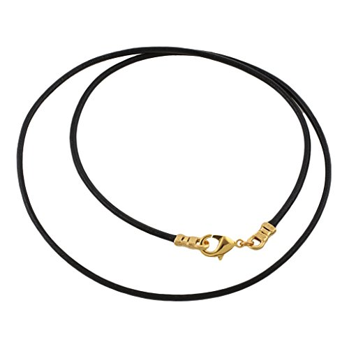 Gold Plated 1.8mm Fine Black Leather Cord Necklace - 20 inches ()