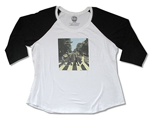 The Beatles Abbey Road Color Womans White/Black Plus Size Raglan T Shirt (Plus Size 6)