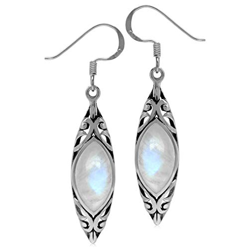 14x7MM Natural Marquise Shape Moonstone 925 Sterling Silver Filigree Dangle Hook ()