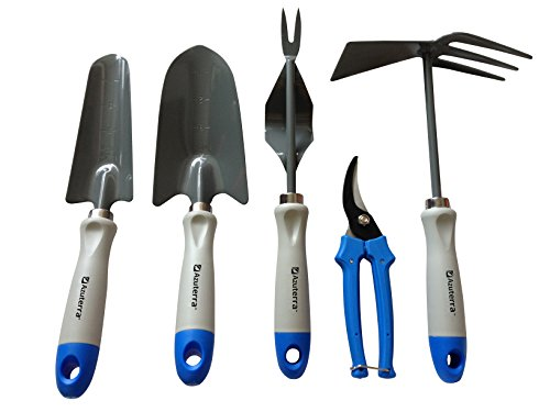 Gardening Tools -5 Piece Garden Tool Set (Trowel,Transplanter,Weeder,Pruning Shears &Double Hoe) from Azuterra. High-Quality & Ergonomic Designed for Women & Garden Lovers. Make Gardening Easy&Fun Now