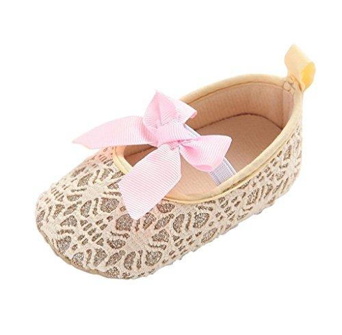 Zapatos de bebé,Tongshi Cuna De Niño Niña Zapatos Zapatillas De Bebé Antideslizante Suela Suave Flor Recién Nacida Oro