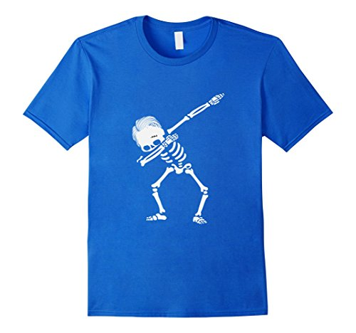 Mens Dabbing Skeleton Hairstyle T-Shirt - Funny Halloween Tee Small Royal (Skeleton Halloween Hairstyles)