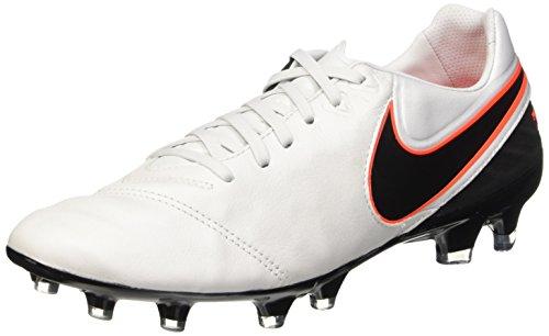 Nike Herren Tiempo Legacy II FG Fußballschuhe Weiß (Pure Platinum/Black-Hypr Orng 001)