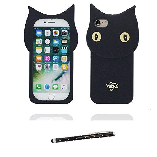 """iPhone 6 Coque, [ TPU Flexible ] Étui pour iPhone 6S (4.7""""), iPhone 6 Case (4.7""""), 3D chat Cover anti-chocs, des empreintes digitales & stylet"""