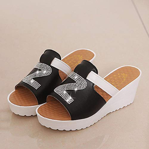 De Sandalias Gruesas Plataformas Mujer Logobeing Cristalino Zapatos Deslizamiento En Plataforma Plana Negro Verano Chancletas Casual 2019 a6HHnwx