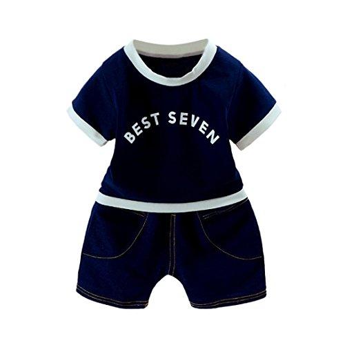 7d03dbea7ed Esharing Trendy Baby Boys Letter Printed T-Shirt+Denim Short Pants 2Pcs  Outfits Set