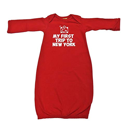 New York Baby Gown - My First Trip to New York - Baby Cotton Sleeper Gown (Red Newborn)