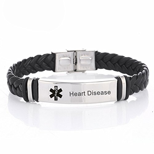 LiFashion LF Mens Stainless Steel Braided Leather Medical Alert Wristband Sos Heart Disease Engraved Medical ID Bracelet Awareness Emergency for Husband Son Boyfriend Grandpa Dad