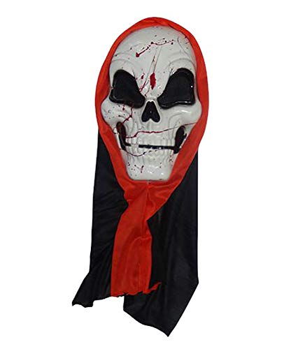 MA ONLINE Unisex Scary Hooded Skull Mask Adults Stag Party Halloween Fancy Dress -