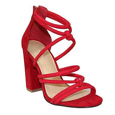 pwne Sandalias De Mujer Zapatos Club Verano Pu Parte &Amp; Traje De Noche Casual Chunky Talón Zipper Hebilla Azul Rojo Naranja Negro US7.5 / EU38 / UK5.5 / CN38