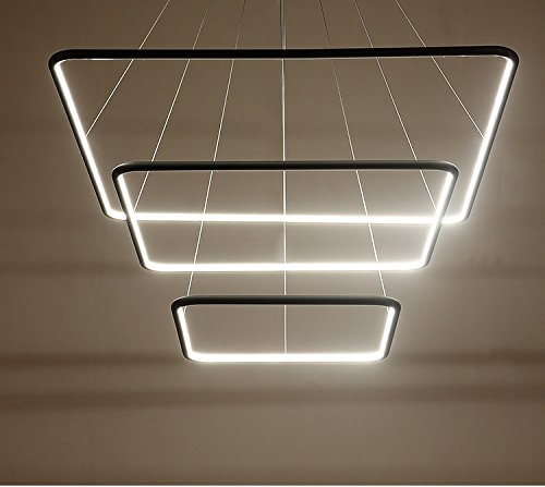 Royal Pearl Modern Square Led Chandelier Adjustable Hanging Light Three Ring Collection Contemporary Ceiling Pendant Light H47
