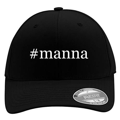 #Manna - Men's Hashtag Flexfit Baseball Cap Hat, Black, Small/Medium (Best Ormus On The Market)