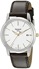 Tissot Men's T0334102601101 T-Classic Stainless Steel Watch With Brown Leather Band