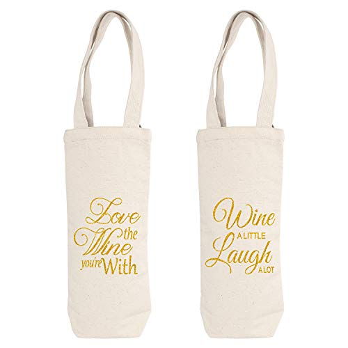 - ElegantPark Canvas Wine Gift Bags Wine Tote with Handle Wine Bottle Bags Wedding Party Gifts 2 Pcs