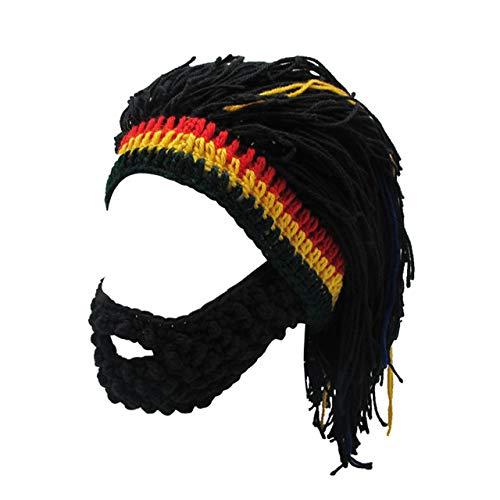 FALETO Funny Knit Beanie Beard Hat Rasta Hat with Dreadlocks Handmade Wig Fancy Halloween Caps,Black