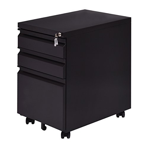 Giantex 3 Drawers Rolling Mobile File Pedestal Storage Cabinet Steel Home Office (Black) - All Steel File Cabinet