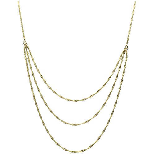 rling Silver One-to-three Strand Singapore Chain Necklace Italy Adjustable 16