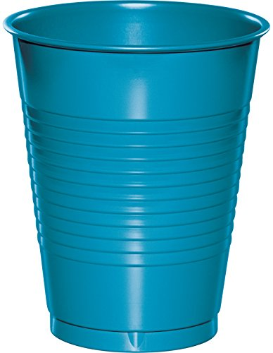 Creative Converting 28313181 20 Count Touch of Color Plastic Cups, 16 oz, Turquoise (Dixie Supplies)
